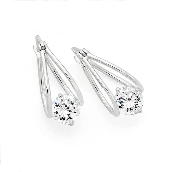 Silver Double Loop Suspended Cubic Zirconia Earrings