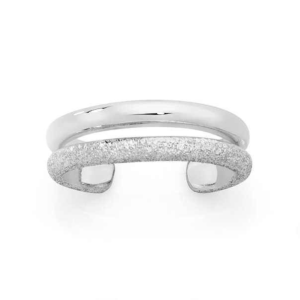 Silver Double Row Stardust & Polish Toe Ring