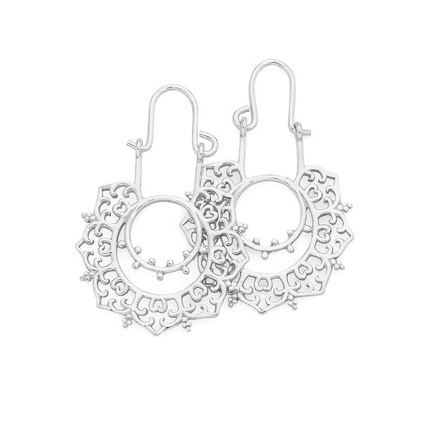 Silver Fancy Boho Hoop Earrings
