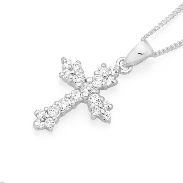 Silver Fancy CZ Cross Pendant
