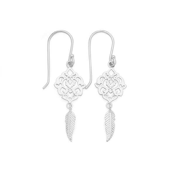 Silver Filigree With Feather Hook Earrings