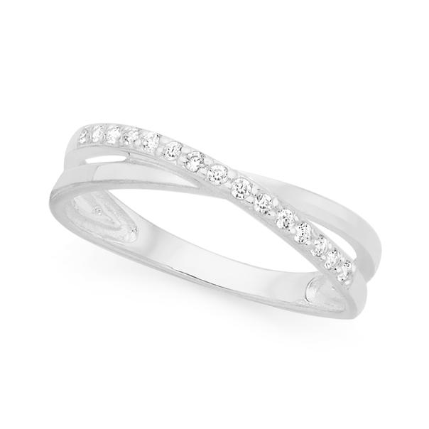 Silver Fine Cz Kiss Ring Size O