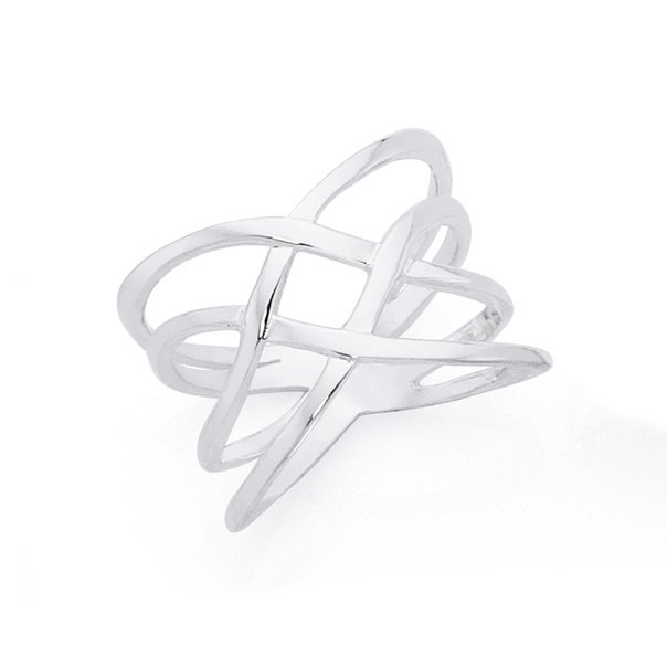 Silver Fine Double Crossover Ring Size O