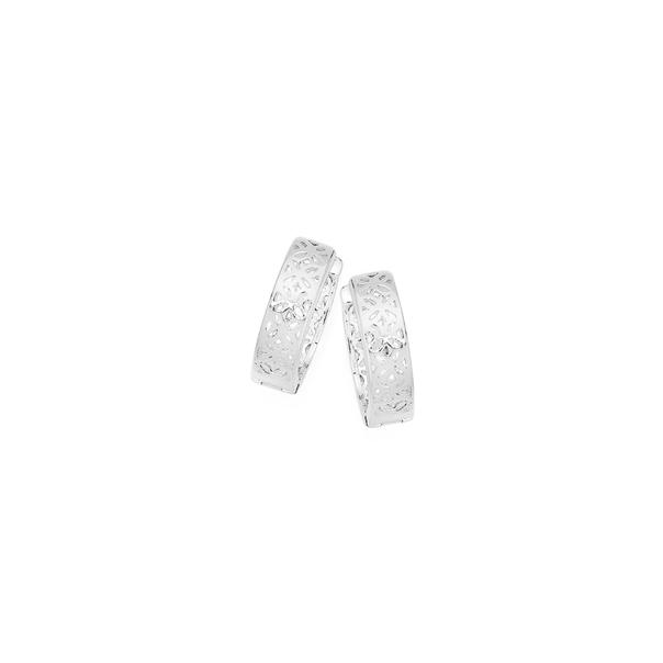 Silver Flower Cut Out Huggie Earrings