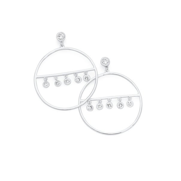 Silver Fringe Round Cz On Bar In Circle Earrings