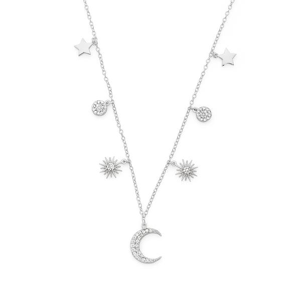 Silver Galaxy CZ Moon & Stars Necklet