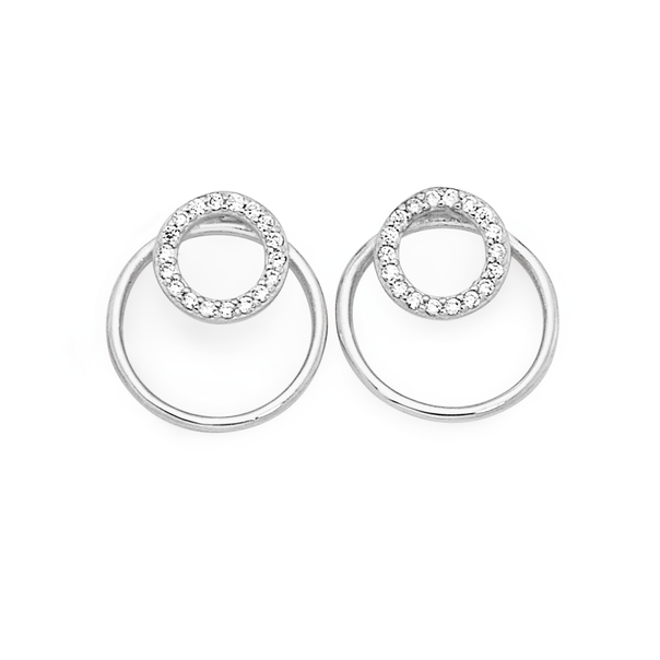 Silver Galaxy Cz Small Circle On Large Circle Earrings