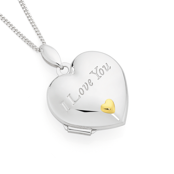 Silver & Gold Plate 18mm I Love You Heart Locket