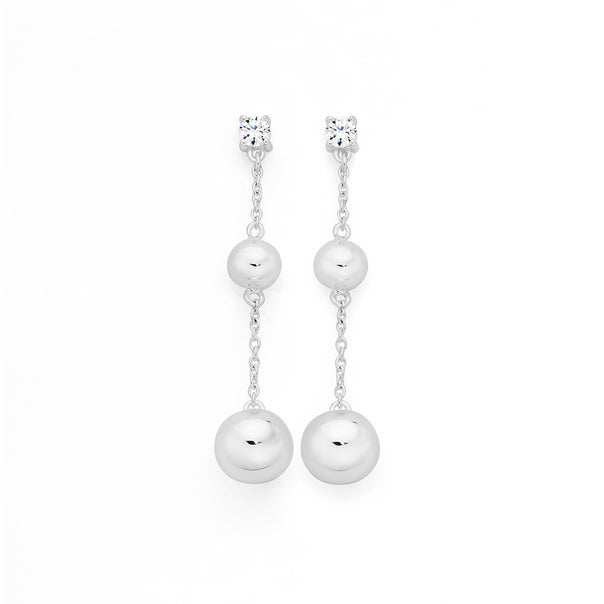 Silver Having A Ball 2 Ball On Strand With Cubic Zirconia Drop Earrings