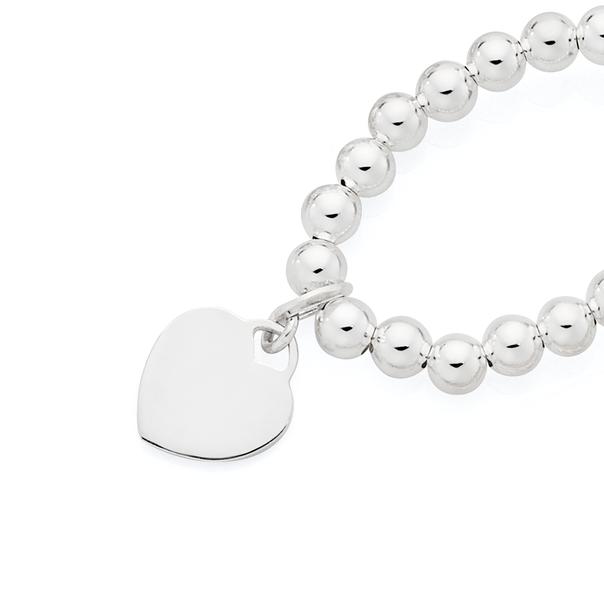 Silver Heart Disc On Ball Stretch Childrens Bracelet