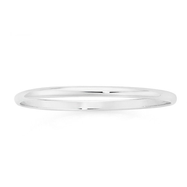 Silver Hollow Half Round Oval Bangle