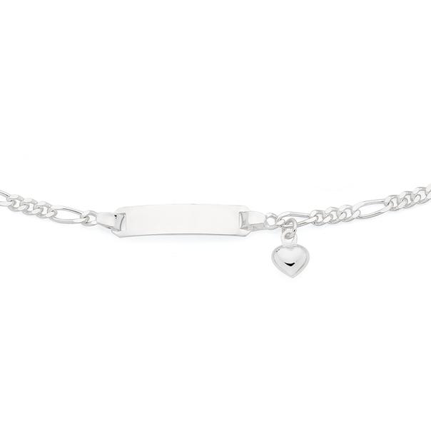 Silver Kids 16.5cm Figaro 3+1 Identity Heart Charm Bracelet