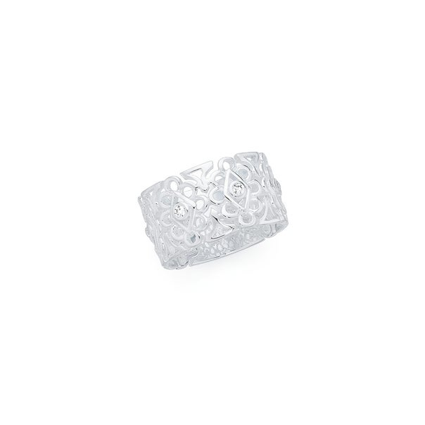 Silver Lace Up Cubic Zirconia Bezel Lace Pattern Ring Q