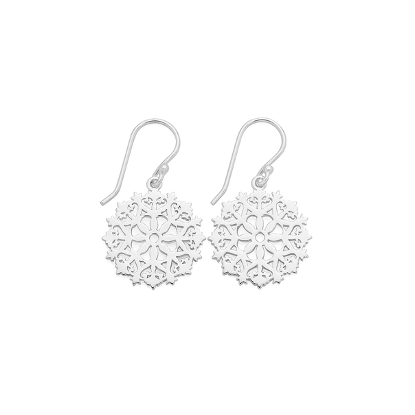 Silver Lace Up Flat Round Doily Drop Earrings