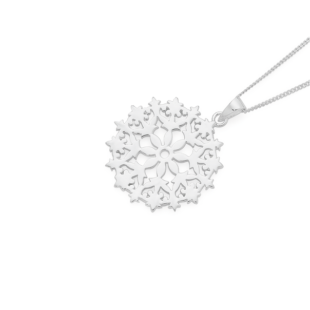 Silver Lace Up Flat Round Doily Pendant