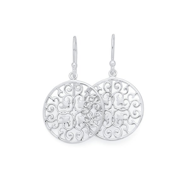 Silver Lace Up Flat Round Filigree Drop Earrings