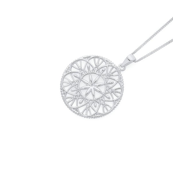 Silver Lace Up Flower Pattern Round Pendant