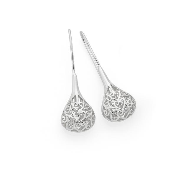 Silver Large Filigree Teardrop Hook Earrings
