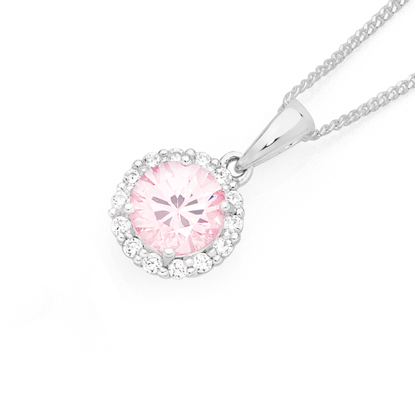 Silver Light Pink CZ Round Cluster Pendant