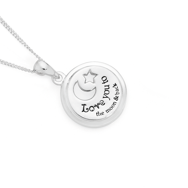 Silver Love You To The Moon & Back Disc Pendant