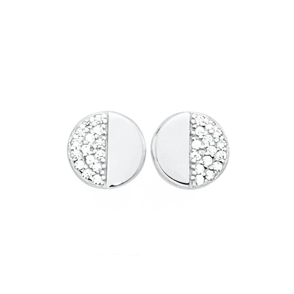 Silver Luna Half Pave Set CZ Stud Earrings