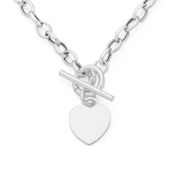 Silver Oval Belcher Heart Fob Necklet