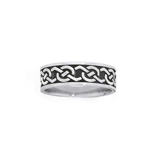 Silver Oxidised Celtic Link Ring Size W