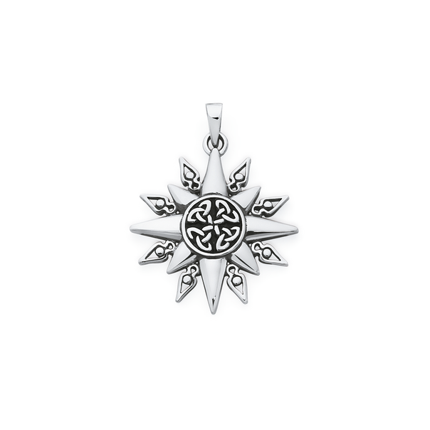 Silver Oxidised Celtic Sun Ray Pendant