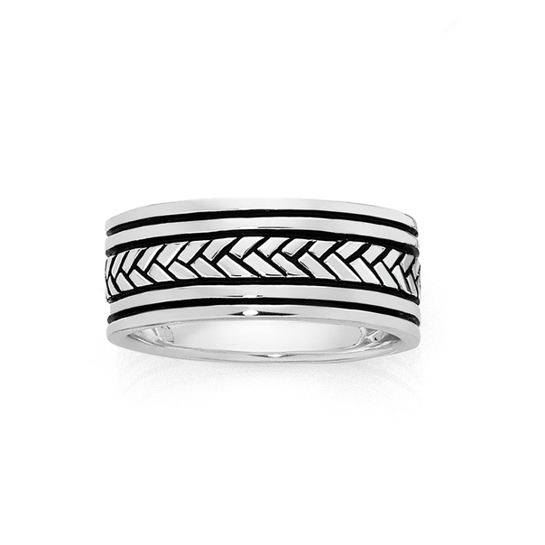 Silver Oxidised Plaited Centre Ring Size W