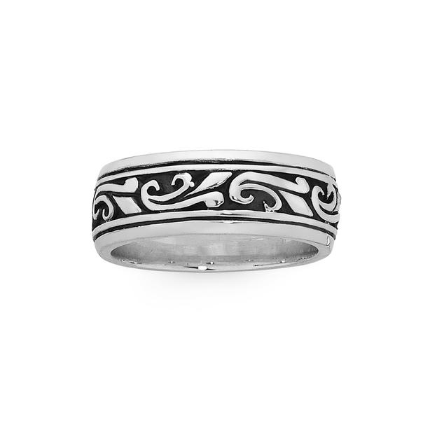Silver Oxidised Scroll Filigree Ring Size W