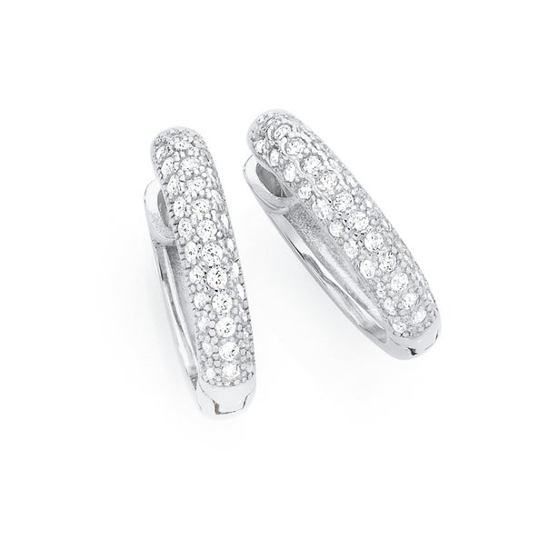 Silver Pave Set CZ Rounded Huggie Earrings