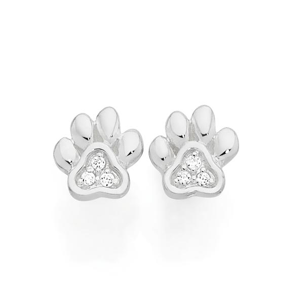 Silver Pets Cz Paw Print Stud Earrings