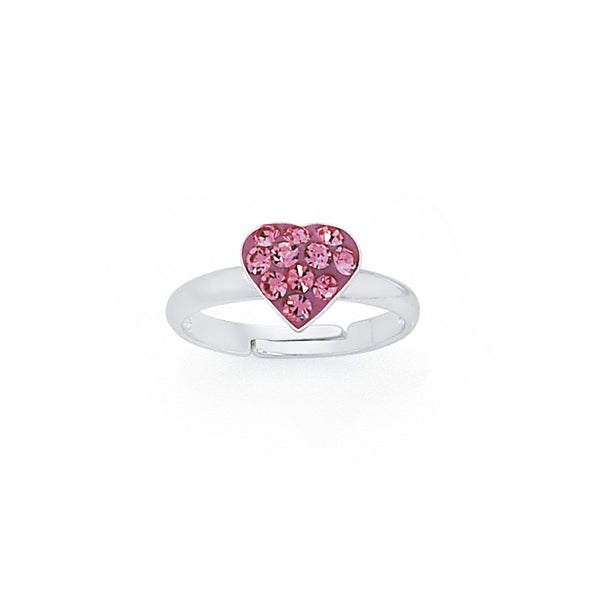 Silver Pink Crystal Heart Ring