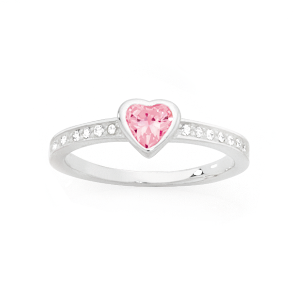 Silver Pink CZ Heart & Channel Set CZ Ring