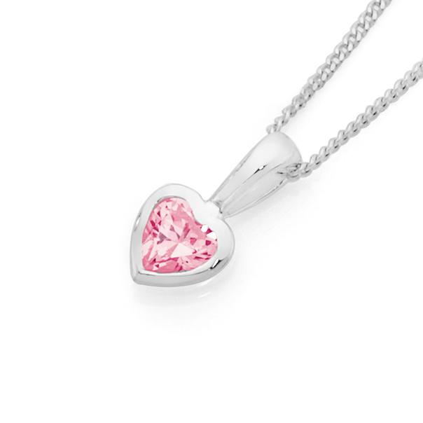 Silver Pink CZ Heart Pendant