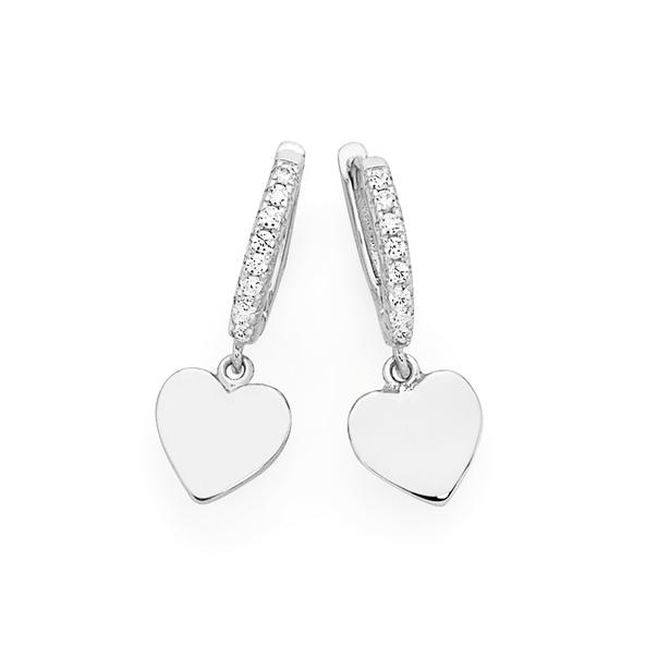 Silver Plain Heart On Cz Huggie Earrings