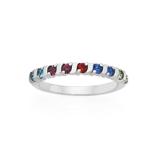 Silver Rainbow CZ Claw Set Friendship Ring