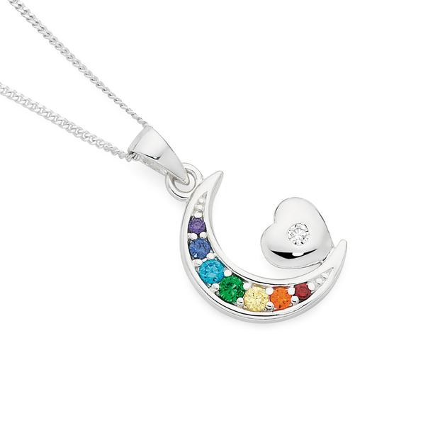 Silver Rainbow CZ Crescent Moon & Cubic Zirconia Heart Pendant