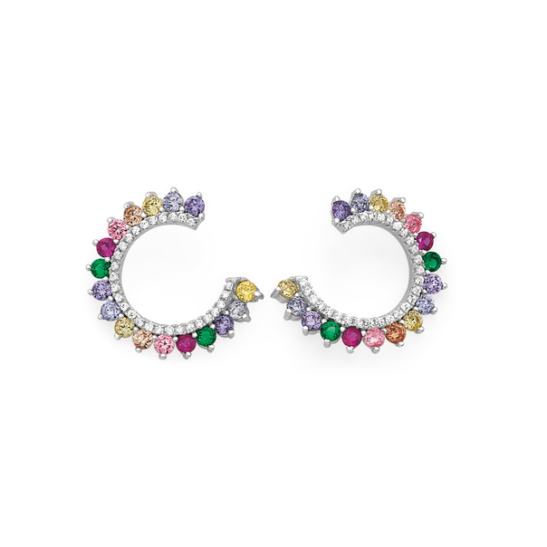Silver Rainbow CZ Ear Wrap Earrings