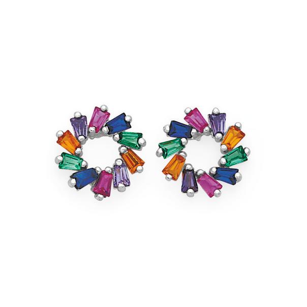 Silver Rainbow CZ Fancy Circle Stud Earrings