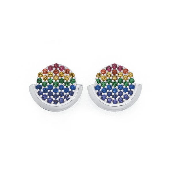 Silver Rainbow CZ Pave Disc On Curve Earrings