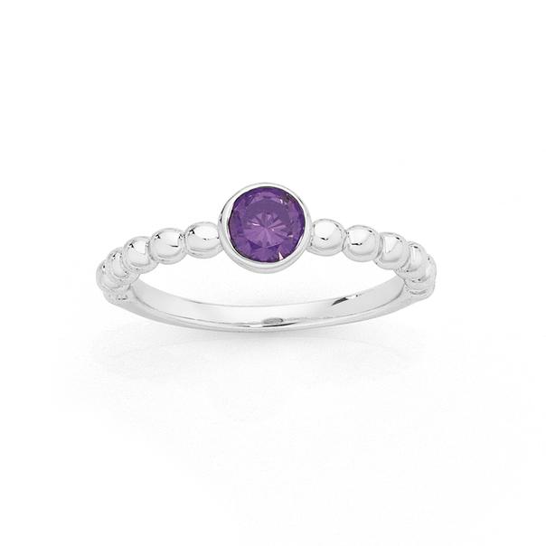 Silver Round Bezel Set Violet CZ Friendship Ring