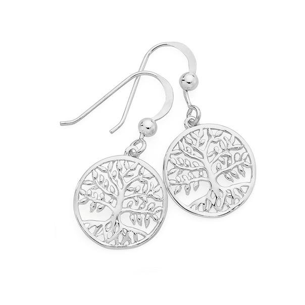 Silver Round Tree of Life Hook Earrings