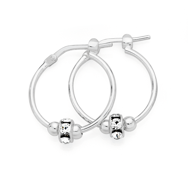 Silver & Silver Plated 15mm Hoop With White Crystal Ring