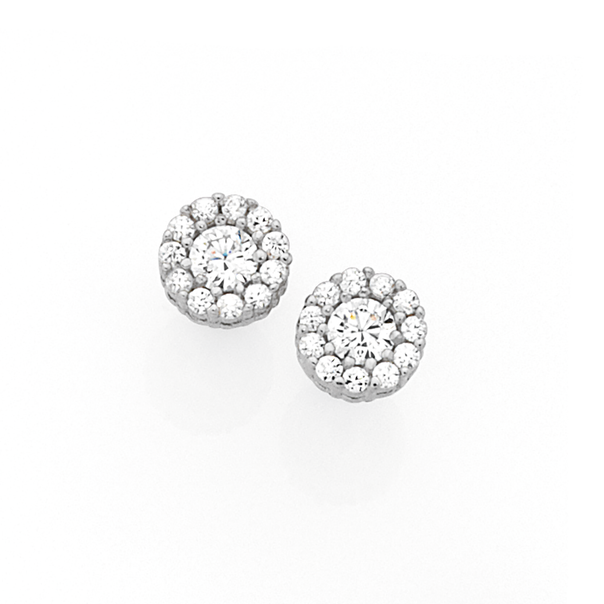 Silver Small CZ Cluster Stud Earrings