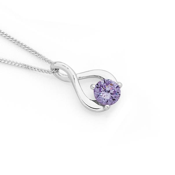 Silver Small Lavender CZ Loop Pendant