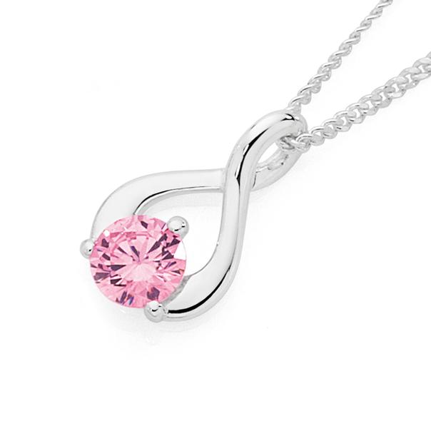 Silver Small Pink Cubic Zirconia Loop Pendant