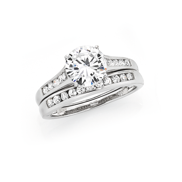 Silver Solitaire & Channel Set Ring +