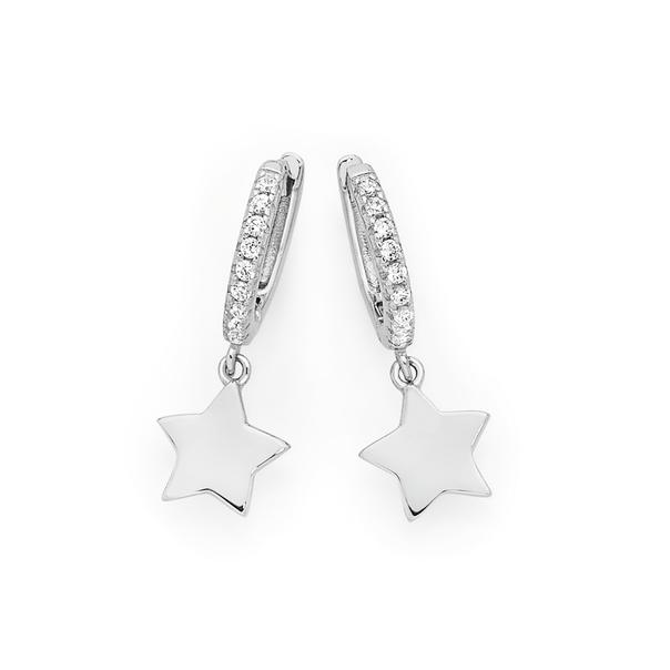 Silver Stella Plain Star On Cz Huggie Earrings