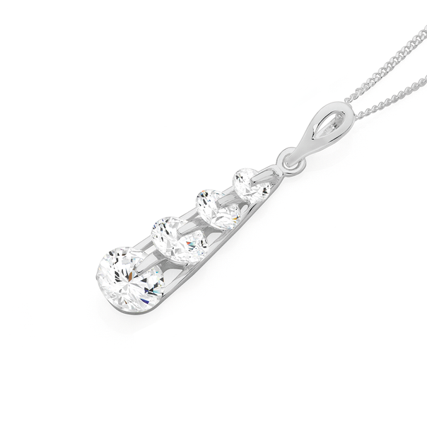 Silver Tapered Four CZ Drop Pendant
